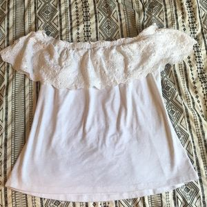 Tops - White Off The Shoulder Shirt